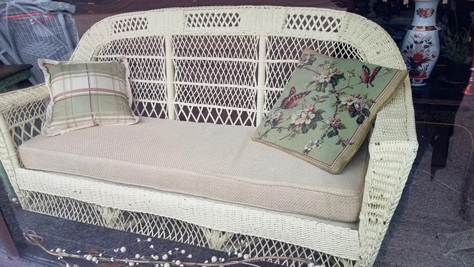 Pretty vintage pale yellow couch in great firm condition, large enough to nap on. $225