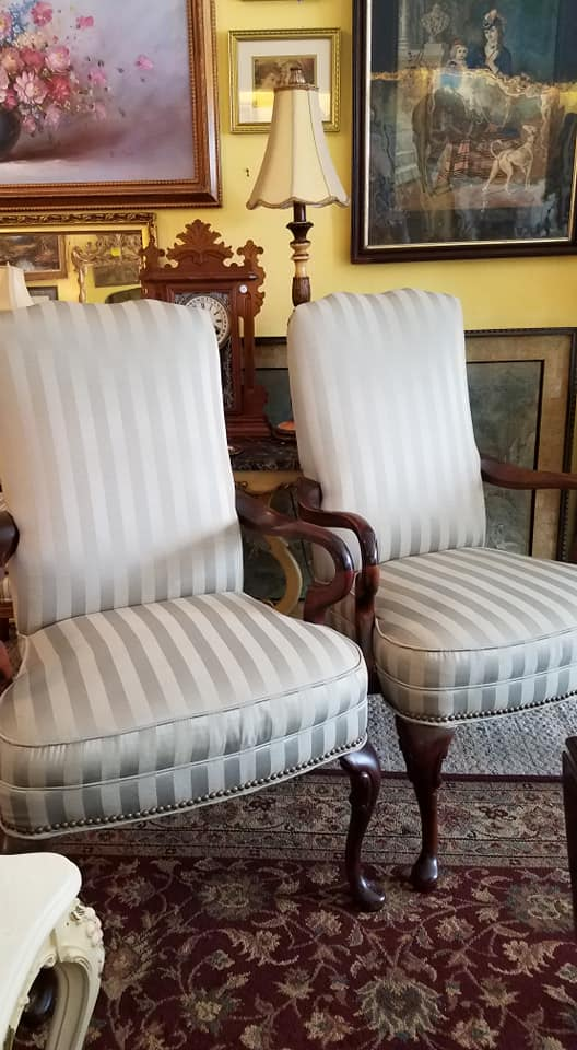 Wonderful pair of armchairs in a pale sage. Excellent condition. Only $250 for the pair.