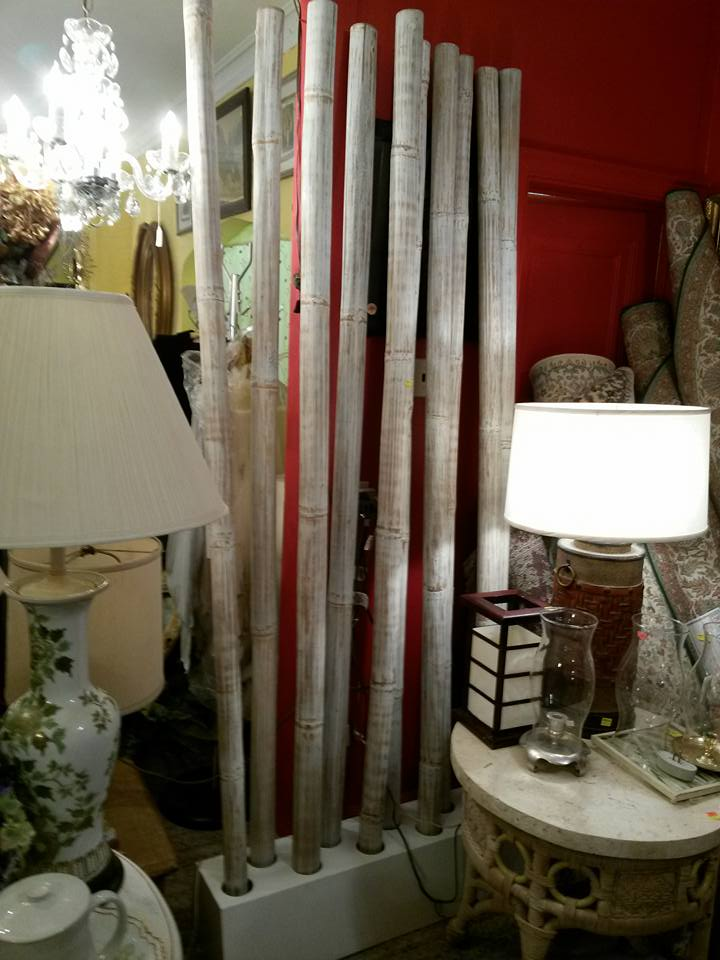 8ft bamboo pole room divider, decorative piece on base. Can be used anywhere! Reduced only $125