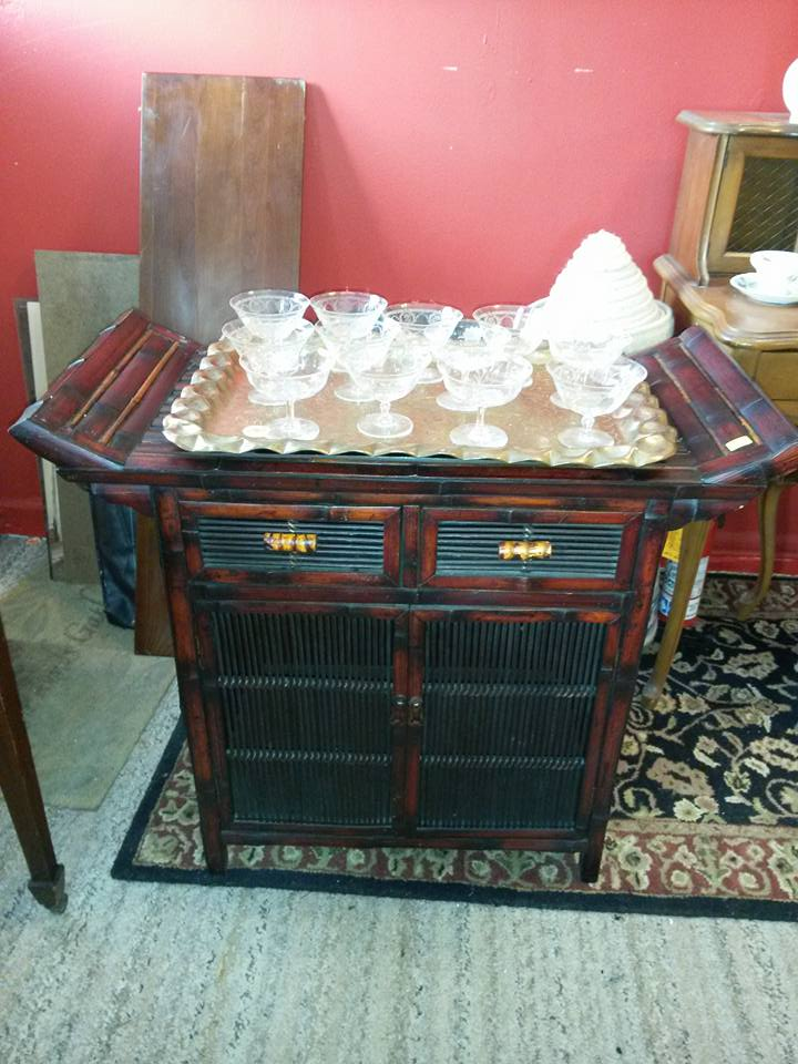 """Bamboo chest with 2 drawers at top and two doors for storage at bottom. 34""""x16"""", 28""""tall. Great TV stand or bar. $135"""