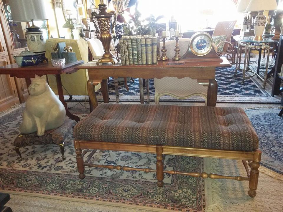 """Great well made bench. 46""""x21"""", 17""""high. Would not be hard to recover. $135."""