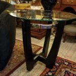 TWO GREAT NEW MODERN STYLE END TABLE. WOOD, GLASS AND CHROME! . BOTH TABLES FOR ONLY $165!