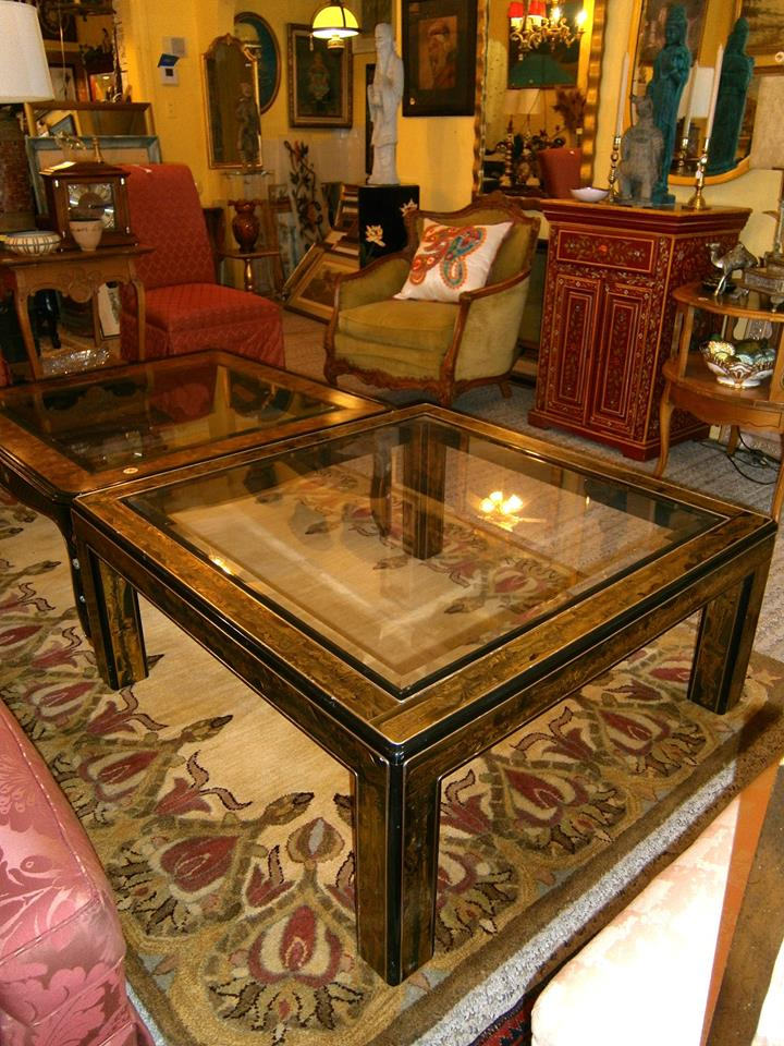 Large glass top table with Asain influence. Trim is in brass and has a very Gutave Klimpt design. Only $175