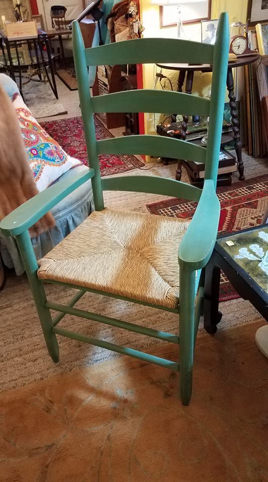 Large ladder back chair with rush seat in excellent condition. Only $45