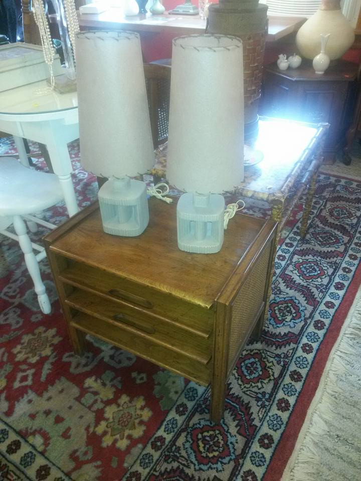 """interesting pair of mid century danish modern ceramic lamps with shades in excellent condition. 20"""" tall. $65 for the pair. Sitting on mid century end table by Heritage recently reduced to $50."""