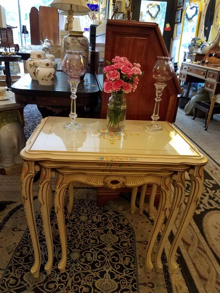 Set of 3 hand painted nesting tables with glass tops. Sturdy, lovely and very functional. Set like this on line over $400, These only $175.