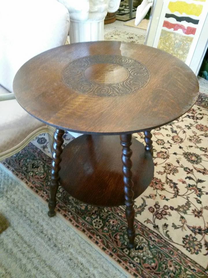 """Very nice occasional table with carved top and twist legs. 24""""across 29""""tall. $68"""