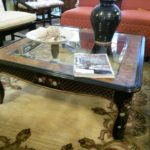 """Large Drexel lacquer, glass and burled wood coffee table. 40"""" x 40"""". Now only $150"""