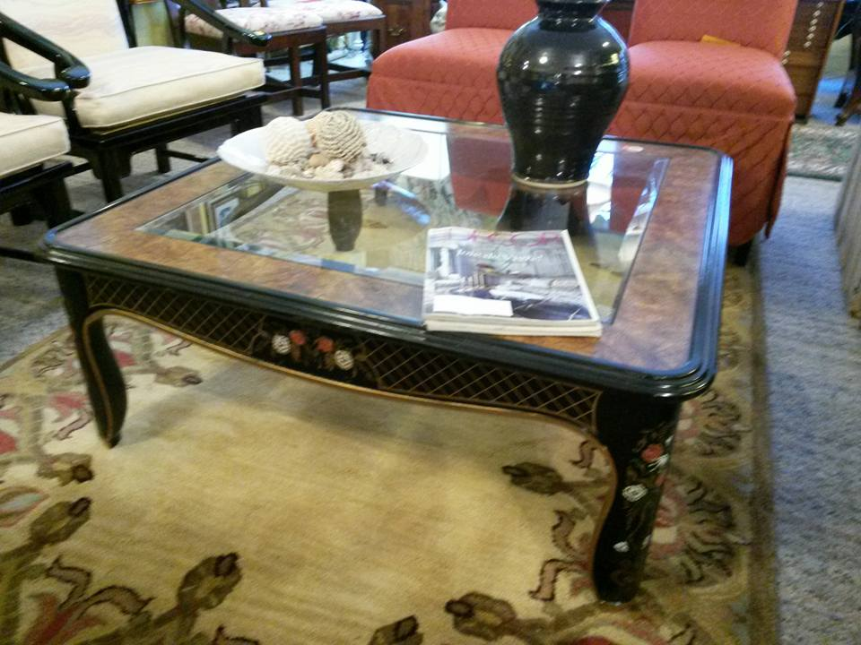 "Large Drexel lacquer, glass and burled wood coffee table. 40"" x 40"". Now only $150"