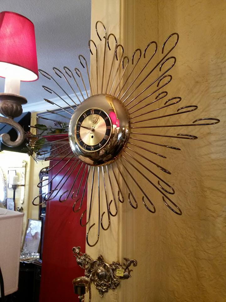 """Large mid century clock. (31"""") original works replaced by quartz works. Runs great! $135"""