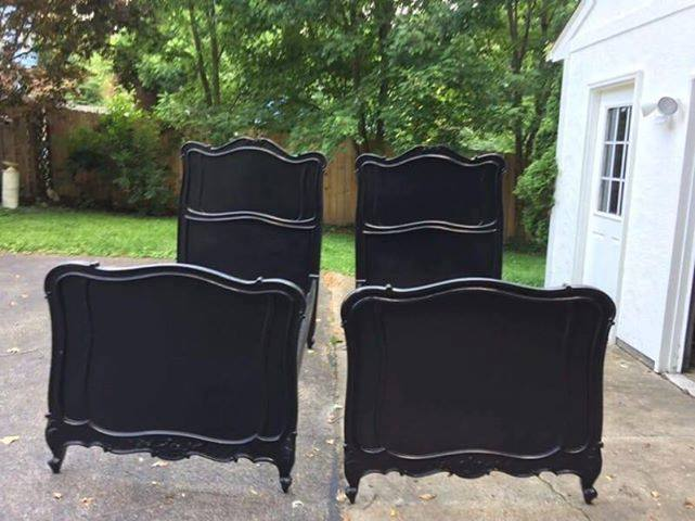 Pair of black painted French style beds, headboard, footboard and rails. $250